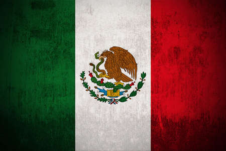 Weathered Flag Of Mexico, fabric textured photo