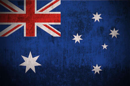 Weathered Flag Of Australia, fabric textured Stock Photo - 3423029