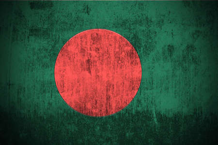 national emblem: Weathered Flag Of Bangladesh, fabric textured