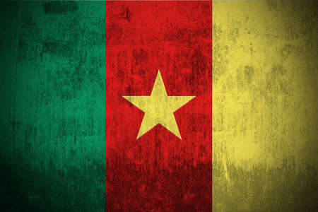 cameroonian: Weathered Flag Of Cameroon, fabric textured