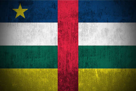 Weathered Flag Of Central African Republic, fabric textured Stock Photo - 3440802