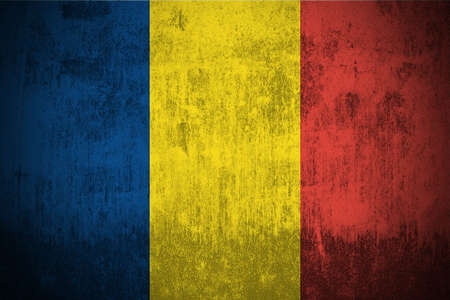 Weathered Flag Of Republic of Chad, fabric textured