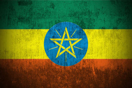 Weathered Flag Of Ethiopia, fabric textured   photo