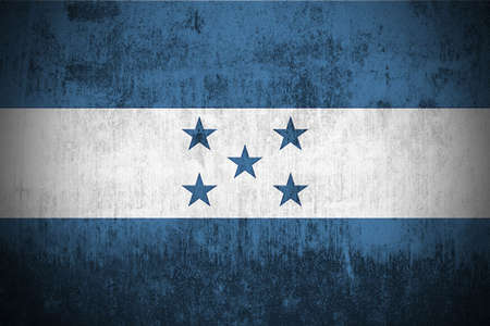 Weathered Flag Of Honduras, fabric textured photo