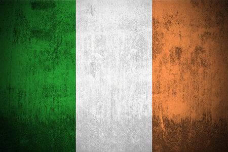 Weathered Flag Of Ireland, fabric textured Stock Photo - 3467894