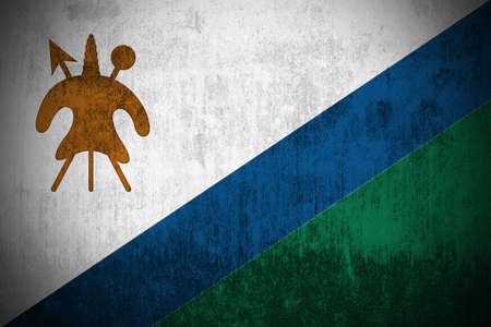 Weathered Flag Of Lesotho, fabric textured Stock Photo - 3467864