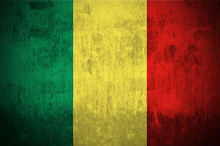 Weathered Flag Of Mali, fabric textured   photo