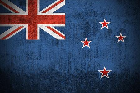 Weathered Flag Of New Zealand, fabric textured   photo