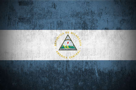 Weathered Flag Of Nicaragua, fabric textured   Stock Photo