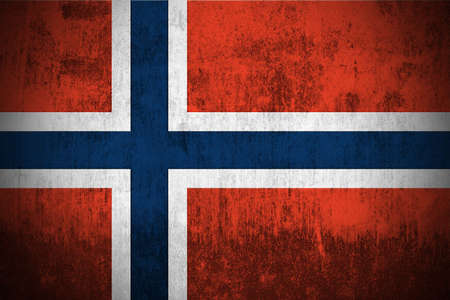 Weathered Flag Of Norway, fabric textured Stock Photo - 3467911