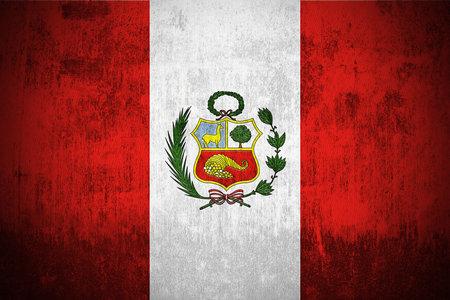 Weathered Flag Of Peru, fabric textured