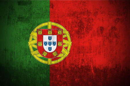 Weathered Flag Of Portugal, fabric textured photo