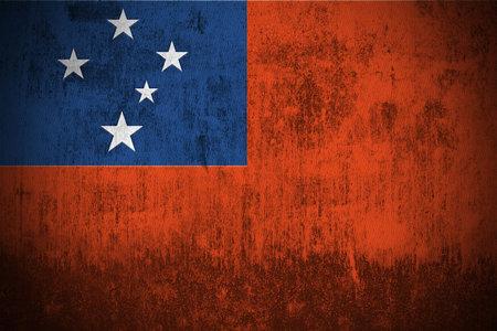 samoa: Weathered Flag Of Samoa, fabric textured Stock Photo