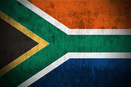 south african: Weathered Flag Of South Africa, fabric textured