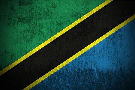 Weathered Flag Of Tanzania, fabric textured