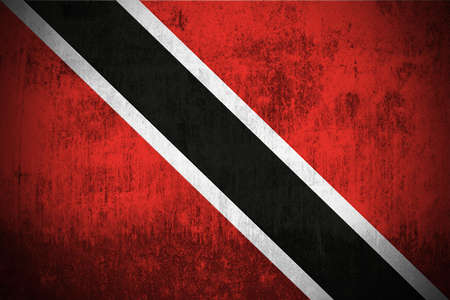 trinidadian: Weathered Flag Of Trinidad and Tobago, fabric textured Stock Photo