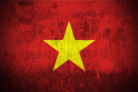 vietnam: Weathered Flag Of Vietnam, fabric textured Stock Photo