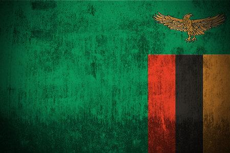 zambian: Weathered Flag Of Zambia, fabric textured