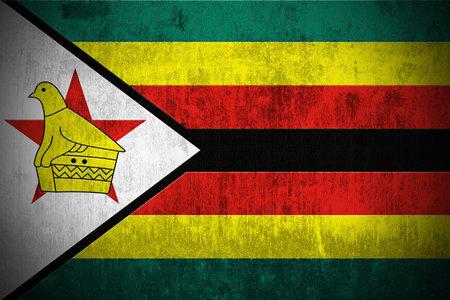 greeen: Weathered Flag Of Zimbabwe, fabric textured Stock Photo
