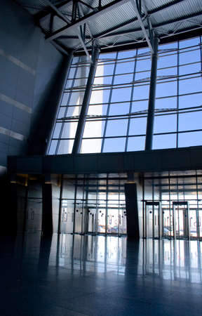 view of an atrium in a building: Lobby in a business center building Stock Photo