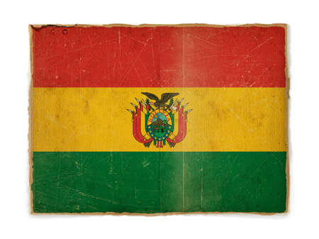 weathered flag of Bolivia, paper textured photo