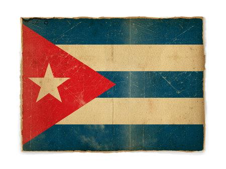 habana: weathered flag of Cuba, paper textured Stock Photo
