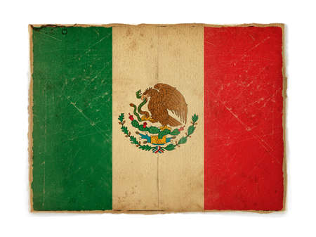 weathered flag of Mexico, paper textured