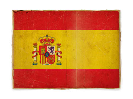 weathered flag of Spain, paper textured photo