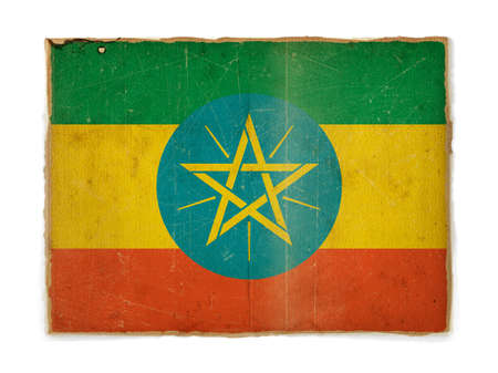 weathered flag of Ethiopia, paper textured photo