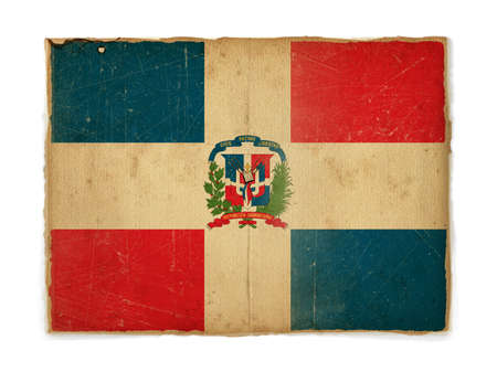 weathered flag of Dominican republic, paper textured photo