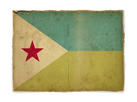 djibouti: weathered flag of Djibouti, paper textured