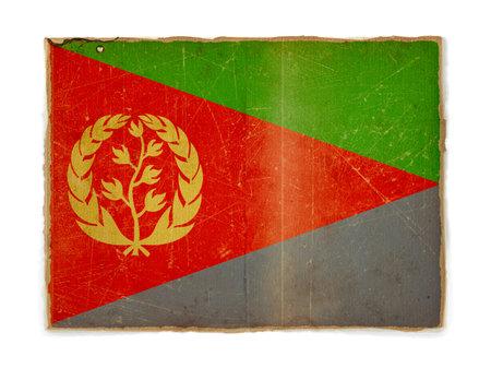 eritrea: weathered flag of Eritrea, paper textured