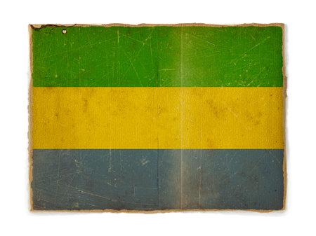 gabon: weathered flag of Gabon, paper textured