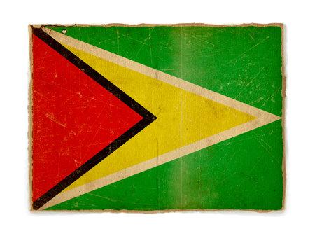 Guyana: weathered flag of Guyana, paper textured