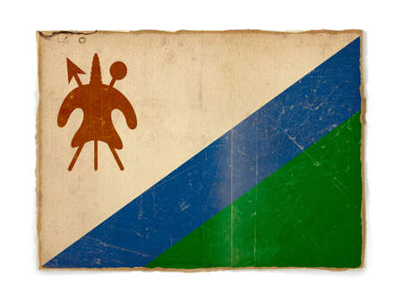 lesotho: weathered flag of Lesotho, paper textured