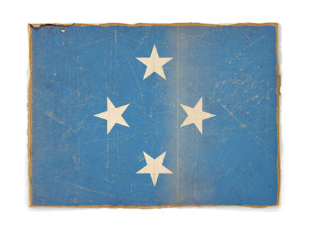 micronesia: weathered flag of Micronesia, paper textured