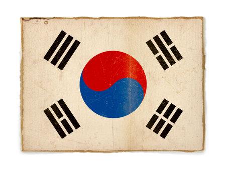 korea flag: weathered flag of South Korea, paper textured