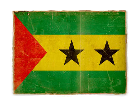 tomo: bandiera seviziarono sporca di Sao tome e principe, carta Testurizzato