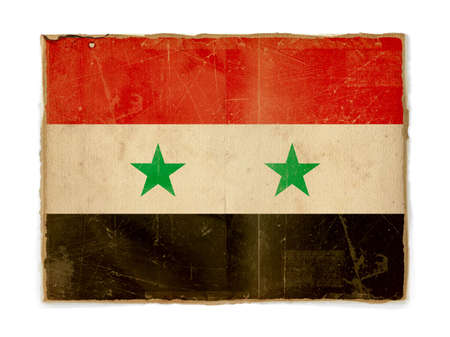 dirty weathered flag of Syria, paper textured photo