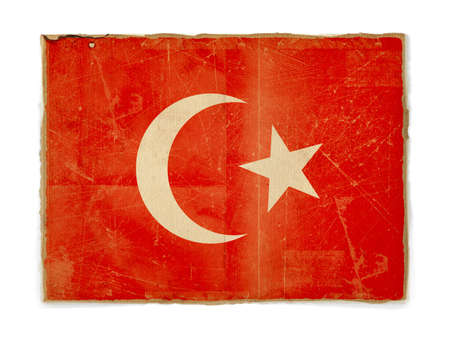 dirty weathered flag of Turkey, paper textured photo