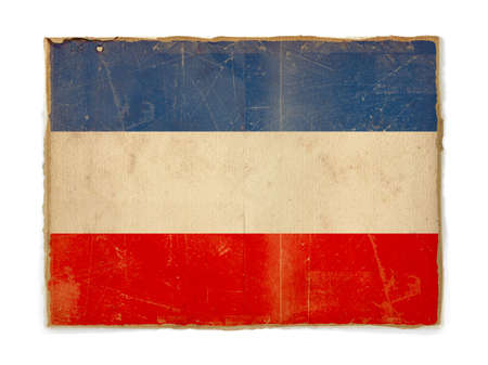 yugoslavia: dirty weathered flag of Yugoslavia, paper textured