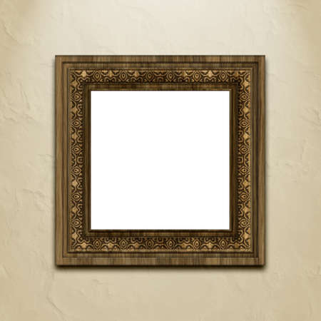 Baroque style picture frame on stucco wall. Stock Photo - 5794568