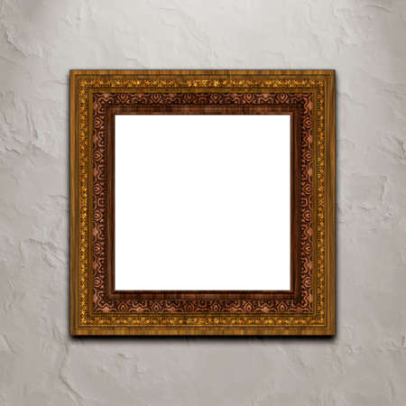 Baroque style picture frame on stucco wall... Stock Photo - 5794576