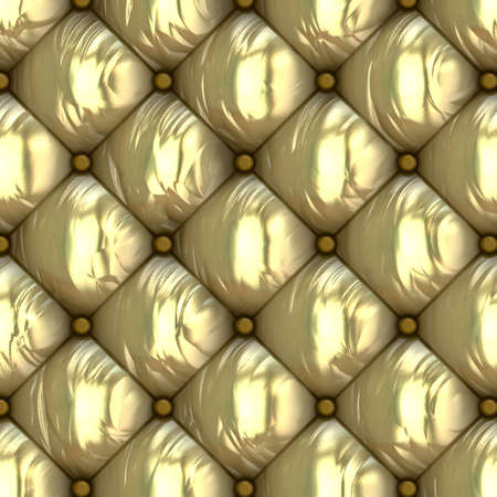biege: Leather Retro Cushion Seamless Pattern, gold color.