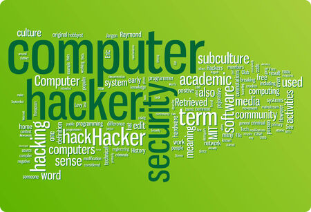 Hacker word cloud illustration. Graphic tag collection