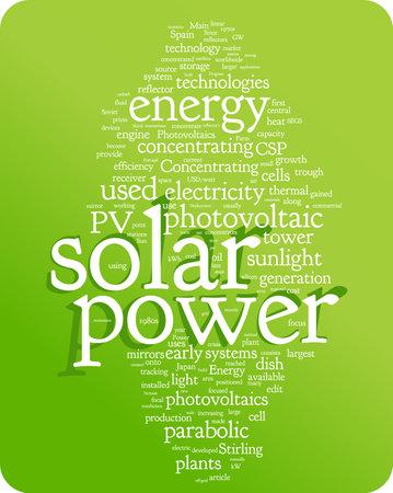 Ilustración de nube de palabra de energía solar. Colección de etiquetas gráficos