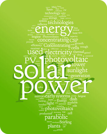Solar power word cloud illustration. Graphic tag collection