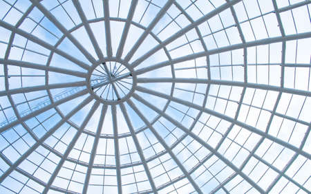 glass panel: office building with glass panel roof Stock Photo