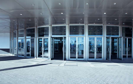 glass door: Modern Office entrance. Steel and glass architecture Stock Photo