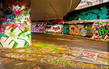 asbo: Interesting perspective graffiti on vandalised building  Editorial